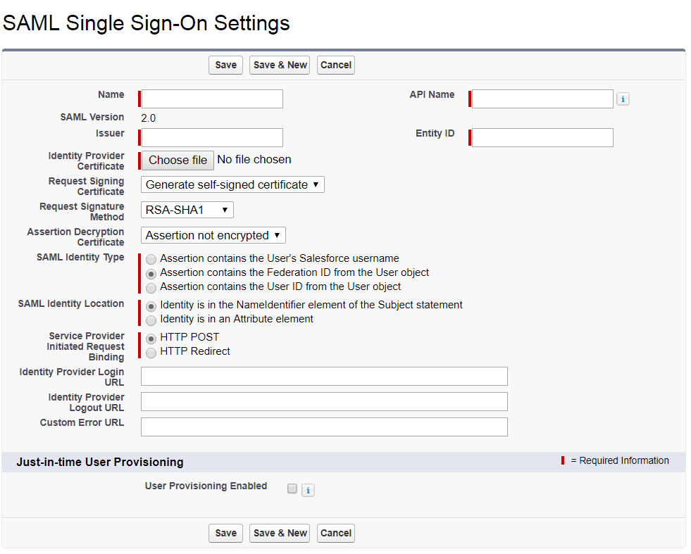 Salesforce single sign on identity provider  Configure